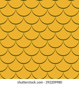 Abstract seamless yellow fish scale vector pattern.