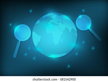 Abstract search engine concept earth and magnifier with blue background