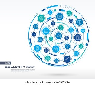 Abstract security, access control background. Digital connect system with integrated circles, glowing line icons. Network system group, interface concept. Vector future infographic illustration
