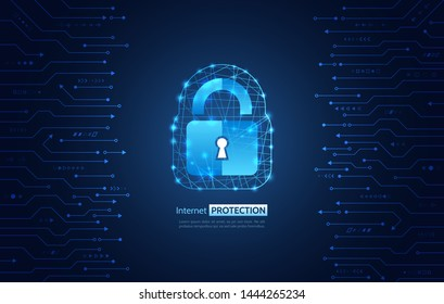 Abstract security digital technology background. Internet and networking protection. Cyber security concept, circuit board and padlock. System privacy vector illustration.