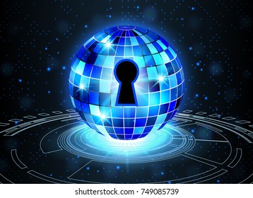 Abstract security technology background, key lock and digital technology background, Vector Illustration.
