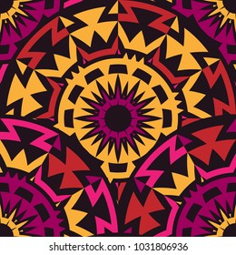 Abstract Semless Pattern with Rotated Tribal Elements. Vector Illustraton for Textile Design