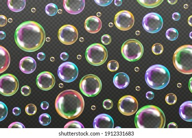 Abstract semless pattern.Flying transparent soap bubbles on checkered background.Reaistic colored balls.Vector texture.