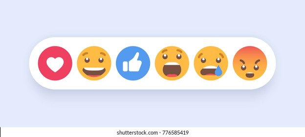 Abstract Set of Emoticons. Emoji flat style icons on white background. Vector EPS 10