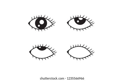 Abstract Set of Eye rolling icon, vector illustration