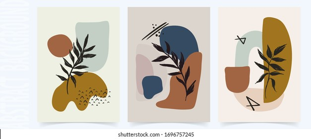 Abstract set floral art vector leaves background Hand draw leaves and line art background for social media cover fabric interior decor