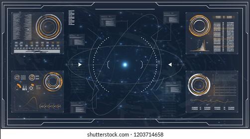 Abstract set with hud radar. Digital radar screen. Abstract technology ui design vector. Future icon. Futuristic abstract technology background innovation concept vector illustration.