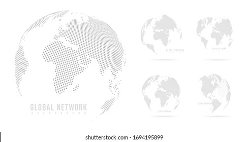 Abstract set mash line and point scales on white background with Global. Wire frame 3D mesh polygonal network line, design sphere, dot and structure. Vector illustration eps 10.
