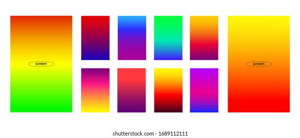 Abstract set of modern bright gradient backgrounds and texture for mobile applications and smartphone screen.  Modern display themes. Template design for mobile app vector