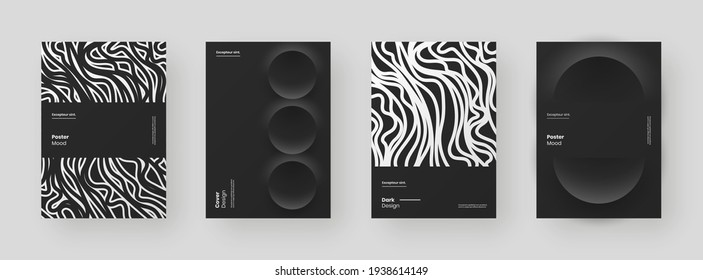 Abstract set Placards, Posters, Flyers, Banner Designs. Black and white illustration on vertical A4 format. 3d geometric shapes and wavy lines. Decorative neumorphism backdrop.