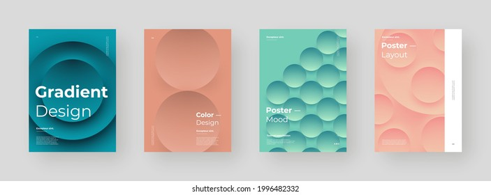 Abstract set Placards, Posters, Flyers, Banner Designs. Colorful illustration on vertical A4 format. 3d geometric shapes. Decorative neumorphism backdrop.