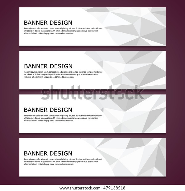 Abstract set of polygonal banners with crumpled surface, metal faceted surface, paper, origami. Vector, EPS 10