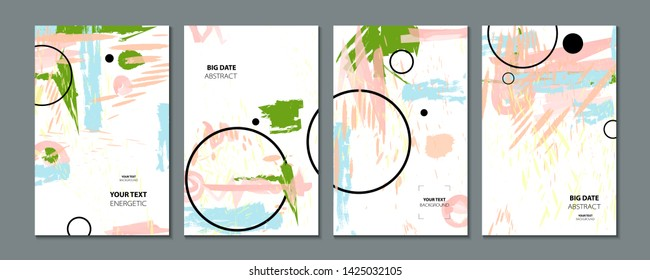 Abstract set summer background universal art web header template. Collage made with scribbles canyon strokes black geometric shapes ink drawn splashes on white background cover template