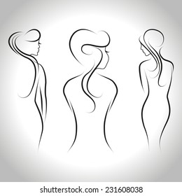 Abstract set of three beautiful women standing back. Vector outline illustration