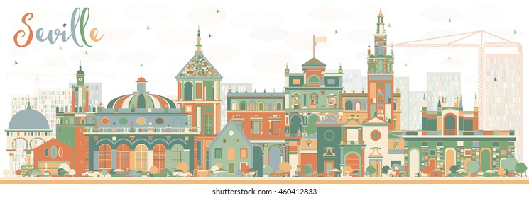 Abstract Seville Skyline with Color Buildings. Vector Illustration. Business Travel and Tourism Concept with Historic Buildings. Image for Presentation Banner Placard and Web Site.
