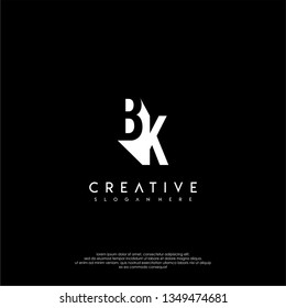 abstract shadow modern BK logo letters design concept