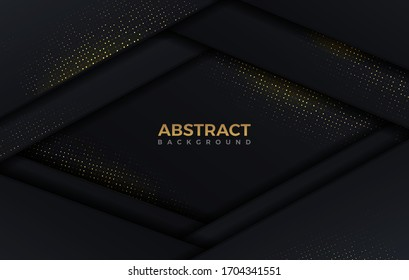 Abstract shape dark and golden glittering dots color luxury background design template