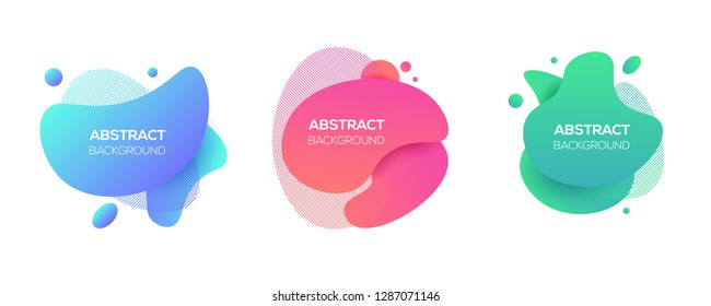 Abstract Shape Design. Vector dynamic geometric cool banner, cover element set, isolated on white. Trendy minimal colorful website, branding, poster background.