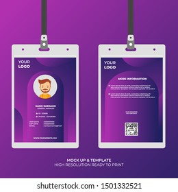 Abstract Shape with Gradient Style ID Card Design Template. Easy to Use and Customize. Ready to Print. Vector Illustration