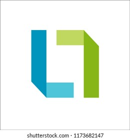 Abstract Shape Letter LL Logo