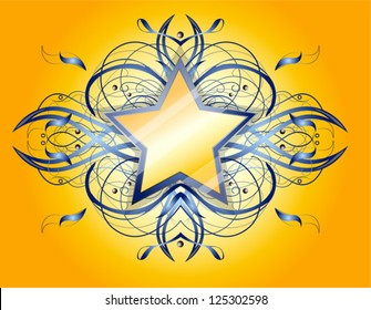 Abstract shape with star.  Illustration 10 version