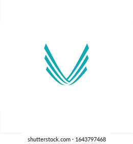 an abstract shape of wing shaped V letter