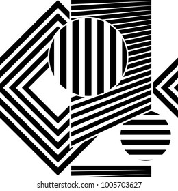 Abstract shape zebra lines geometric black and white. Seamless vector illustration.