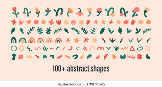 Abstract shapes collection, isolated contemporary art doodles, bundle of flowers, swirls and dots leaves. Linocut stamp shapes, abstraction generator. colorful blot. Trendy motley illustration