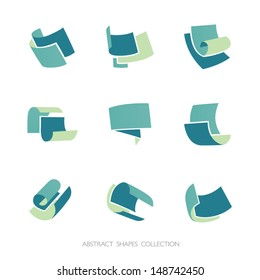 Abstract Shapes Collection. Set of 3-color vector icons.