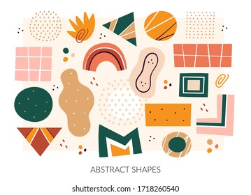 Abstract shapes, figures vector illustrations set. Circles and triangles doodle color drawings collection. Abstraction, hand drawn geometric shapes pack isolated on white background