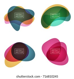 Abstract shapes form. Label collection. Paper style. Blue and orange, green and yellow, pink and purple colors. Big Set of Trendy Geometric Bubbles. Stock vector.