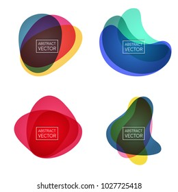 Abstract shapes form. Paper style. Blue and red, yellow, ultraviolet and purple colors.