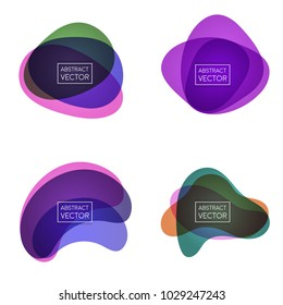 Abstract shapes form. Paper style. Blue and green, orange, ultraviolet and purple colors. Stock vector.
