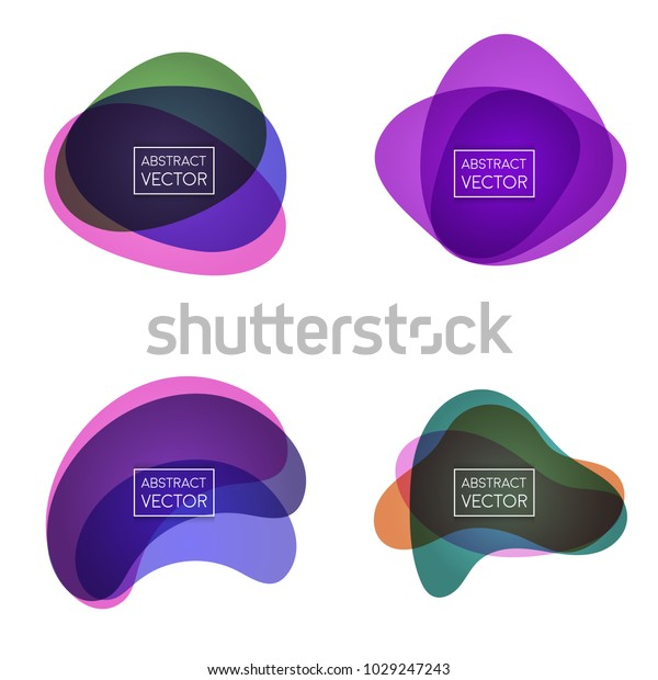 抽象的な図形フォーム。紙のスタイル。青と緑、オレンジ、紫、紫。ストックベクター画像。