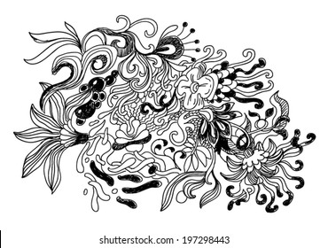abstract shapes like flowers doodle style illustration