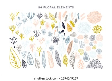 Abstract shapes, modern floral elements big set. Hand drawn doodle geometric and texture collection. Trendy vector illustration isolated on white background. Abstract scribble, drops, line and leaves.