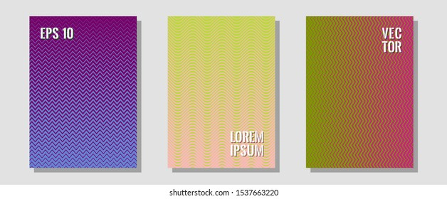 Abstract shapes of multiple lines halftone patterns. Modern branding. Zigzag halftone lines wave stripes backdrops. Music album adverts. Cool abstract shapes gradient texture backgrounds.