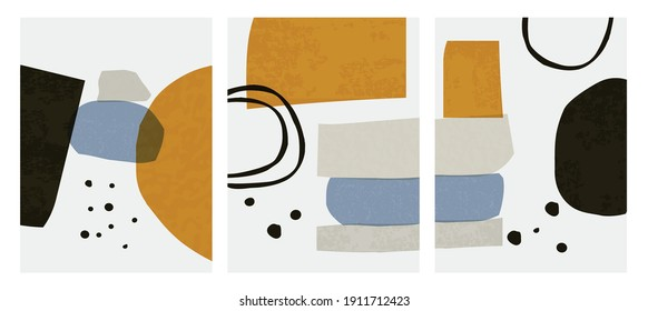 Abstract shapes Nordic paint print set. Scandinavian style poster background collection. Minimalist contemporary design vector illustration for wall decoration, home gallery, postcard, brochure cover