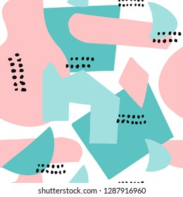 Abstract shapes seamless collage pattern with dots, floral, round and angles and geometrical elements. Tileable modern wallpaper background for web, banners, cards, fabric, textile and surface design