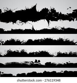 Abstract shapes, vector grunge drawn splashes set. Grunge brushes. Vintage design elements. Grunge texture.