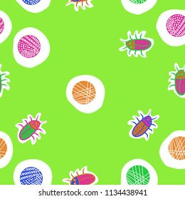 Abstract shapes,beetles , doodles,dotted lines, labels seamless  pattern. Hand drawn.