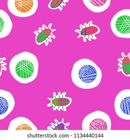 Abstract shapes,beetles , doodles,dotted lines, labels pattern pattern. Hand drawn.