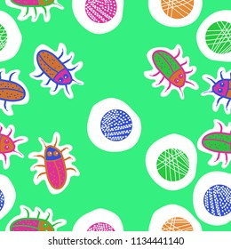 Abstract shapes,beetles, doodles,dotted lines, labels  seamless pattern. Hand drawn.