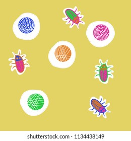 Abstract shapes,beetles  pattern, doodles,dotted lines, labels pattern. Hand drawn.