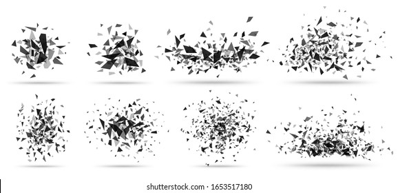 Abstract shatter burst. Geometric texture, dark triangles bursts and broken shattered debris vector set. Flying black shapes explosion, particles spray isolated on white
