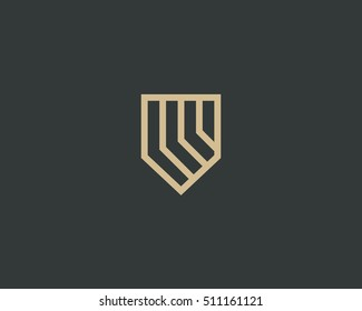 Abstract shield logo design. Luxury linear business pocket sign. Line protection security vector logotype