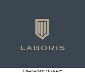 Abstract shield logo design template. Premium business sign. Universal protection vector icon. Security logotype
