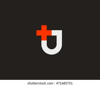 Abstract shield plus vector logo design. Additional protection, insurance creative idea symbol. Medical cross logotype