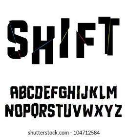 Abstract shift alphabet. Vector illustration.