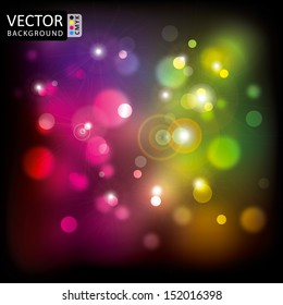 Abstract Shine Multicolor Light Lens Flare Background CMYK Color.